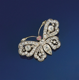 A late Victorian diamond butterfly brooch