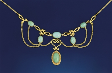 A gold and turquoise festoon n