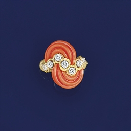 A diamond and coral ring, by P