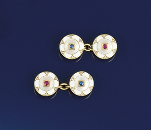 A pair of Art deco ruby diamon