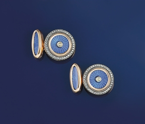 A pair of enamel and diamond c