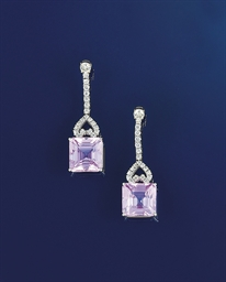 A pair of kunzite and diamond