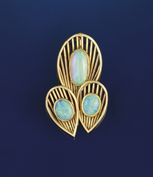 An opal brooch