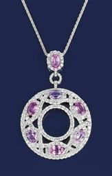 A diamond and pink sapphire pe