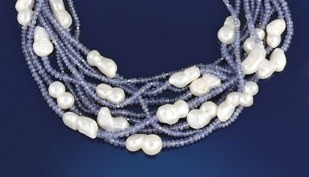 A tanzanite, cultured pearl, m