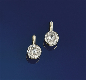 A pair of rose-cut diamond ear