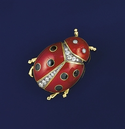 A diamond and enamel ladybird