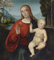 The Madonna and Child, seen through a feigned window