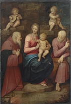 The Holy Family with Saint Anthony Abbot and angels
