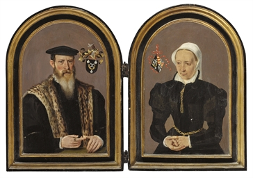 A diptych: Portrait of a gentl