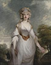 Portrait of Lady Almeria Carpenter (1752-1809), three-quarter-length, in a white dress with a chiffon shawl, in a landscape