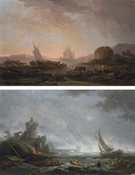 A coastal landscape with ruins