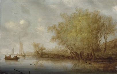 A river landscape with sportsm