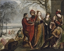 Solomon and the Queen of Sheba, in a winter landscape