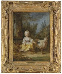 A young milkmaid and a goat at