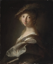 Portrait of a lady, said to be the duchesse de Caumont-Laforce, bust-length, in a plumed hat and silk mantle
