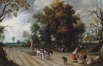 An Allegory of Autumn: A farmer harrowing a field while another sows, with peasants gathering apples in an orchard beyond
