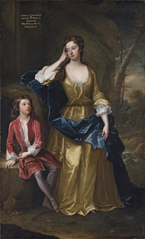 Portrait of Isabella, Duchess of Grafton (c. 1688-1723) and her son Charles Fitzroy, later 2nd Duke of Grafton (1683-1757), full-length, a landscape beyond