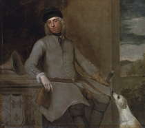 Portrait of Charles Wither, of Hall, Hampshire, M.P. (1684-1731), three-quarter-length, in hunting dress, with a hound, in a landscape, his coat-of-arms lower left