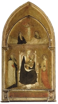 The Madonna and Child with Saints Anthony Abbot and Catherine of Alexandria, The Crucifixion above