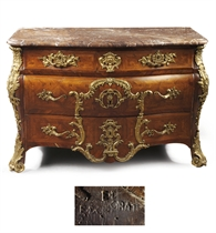 A REGENCE ORMOLU-MOUNTED KINGWOOD AND TULIPWOOD BOMBE COMMODE