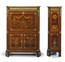 A LOUIS XVI ORMOLU-MOUNTED AMARANTH, KINGWOOD, TULIPWOOD, SATINWOOD AND GREEN-STAINED FRUITWOOD MARQUETRY SECRETAIRE A ABATTANT