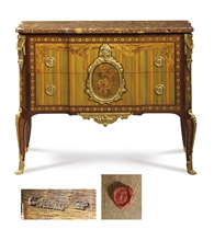 A LATE LOUIS XV ORMOLU-MOUNTED AMARANTH, TULIPWOOD AND STAINED FRUITWOOD MARQUETRY AND PARQUETRY COMMODE