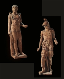 A PAIR OF TERRACOTTA FIGURES O
