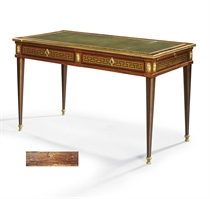 A LOUIS XVI ORMOLU-MOUNTED TULIPWOOD, AMARANTH AND STAINED FRUITWOOD PARQUETRY BUREAU PLAT