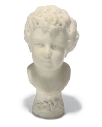 A WHITE MARBLE BUST OF A BOY