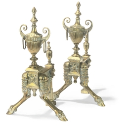 A PAIR OF VICTORIAN BRASS ANDI