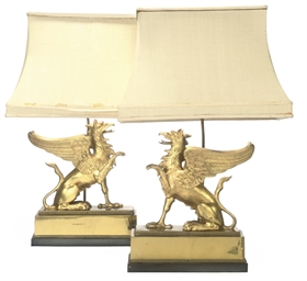 A PAIR OF GILT-BRASS TABLE LAM