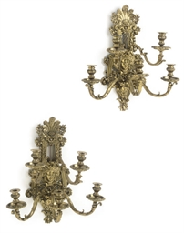 A PAIR OF GILT BRASS FIVE BRAN