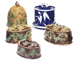 THREE MAJOLICA GAME PIE TUREEN
