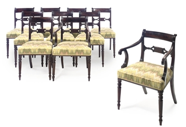 A SET OF TEN REGENCY MAHOGANY