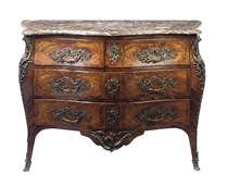 A LOUIS XV ORMOLU-MOUNTED KINGWOOD AND PALISSANDER COMMODE