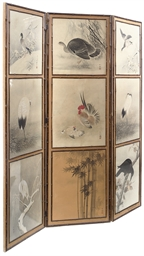 A VICTORIAN THREE FOLD SCREEN