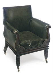 A WILLIAM IV LEATHER UPHOLSTER
