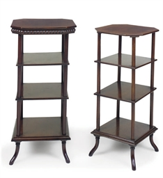 TWO SIMILAR VICTORIAN MAHOGANY FOUR-TIER WHATNOTS