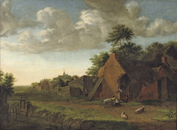 A landscape with figures and l