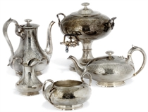 A VICTORIAN ELECTROPLATED MATCHED FIVE-PIECE TEA/COFFEE SERVICE