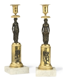 A PAIR OF SWEDISH BRONZE, GILT