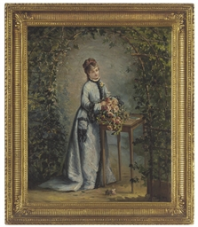 Young woman arranging flowers,