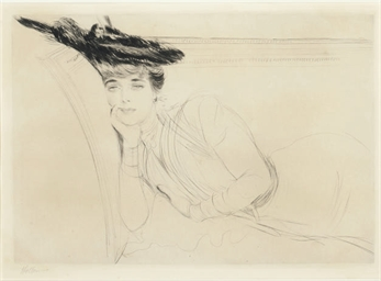 [Woman reclining on a sofa]