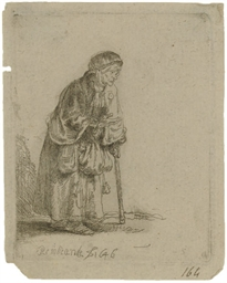 Beggar Woman Leaning on a Stic