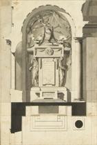 Etude pour un monument funéraire avec un plan au sol
