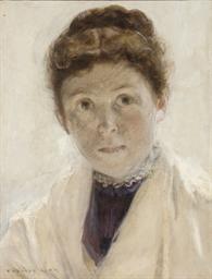 Portrait de femme au châle bla