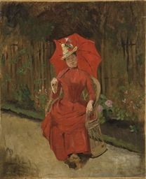 Femme assise à l'ombrelle roug