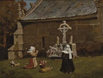 Femmes et enfant priant devant