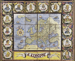 CARTE GEOGRAPHIQUE EN FAIENCE